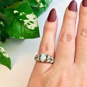 Jewelry - OPAL Ring w/ Crystals in Silver Tone